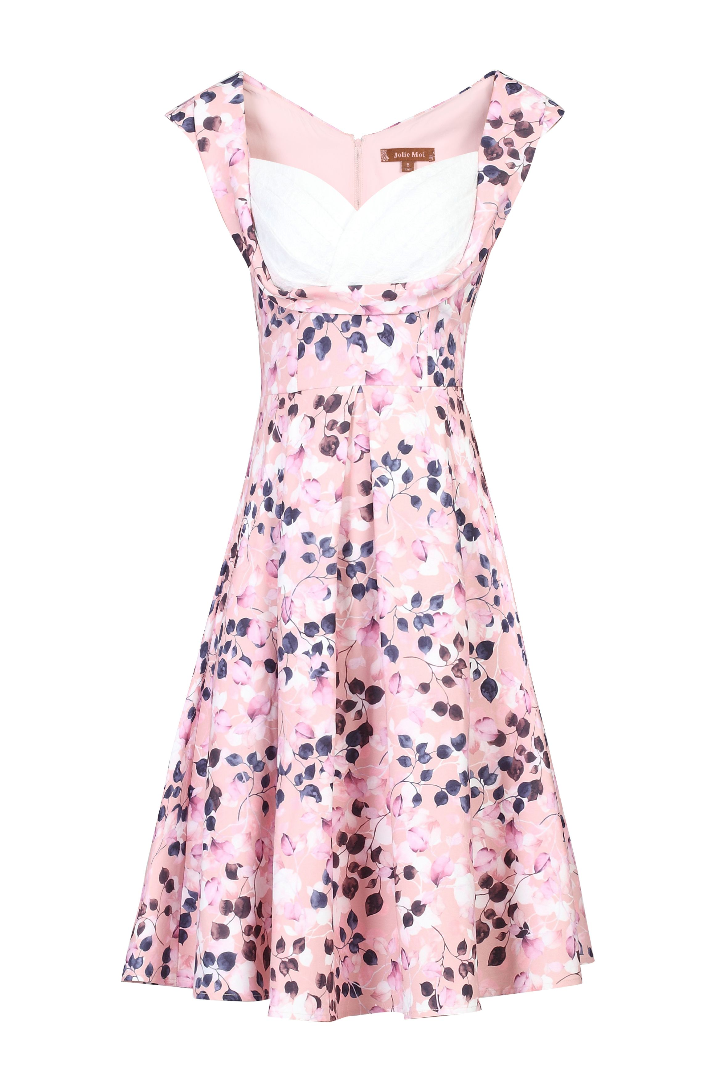 Jolie Moi Floral Print Crossover Bust Dress, Pink