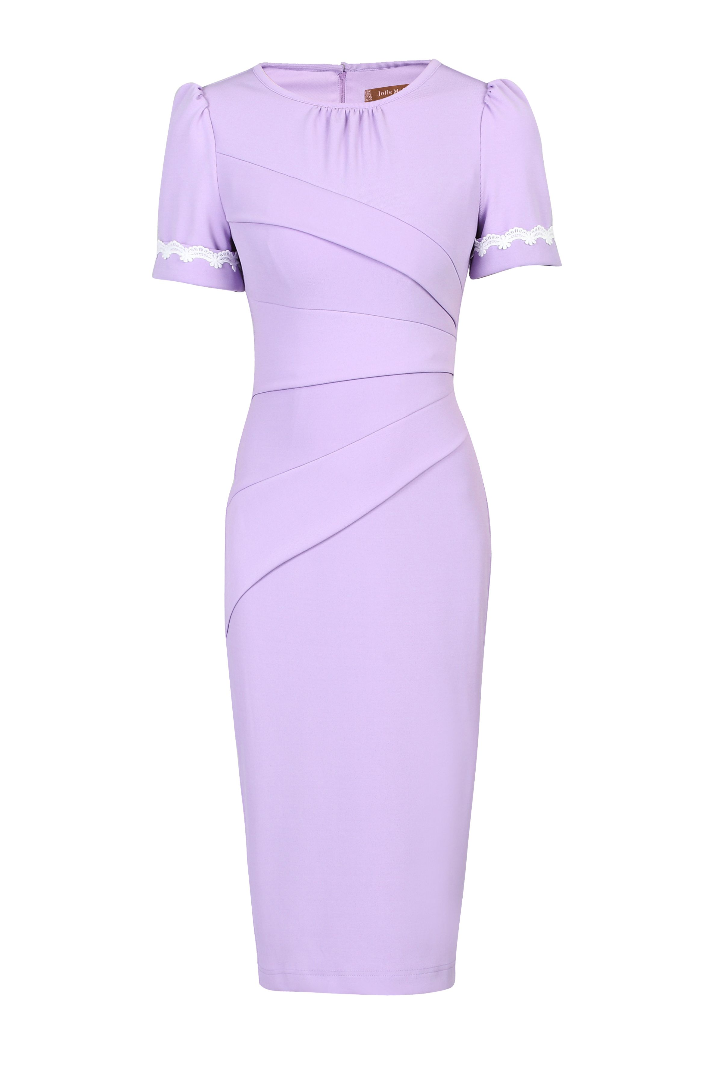Jolie Moi Lace Trimmed Fold Detail Dress, Lilac