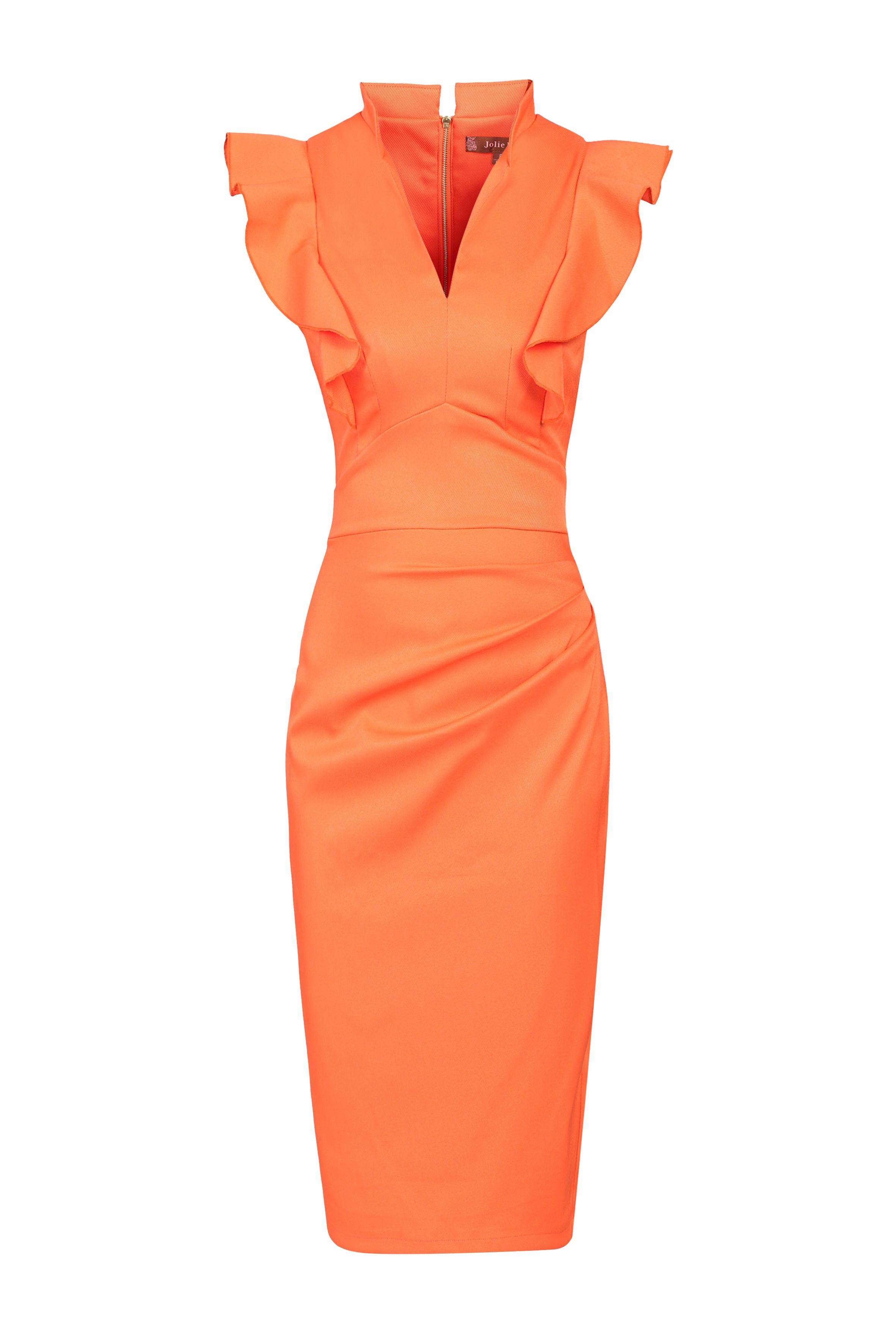 Jolie Moi Frill Shoulder V Neck Dress, Coral