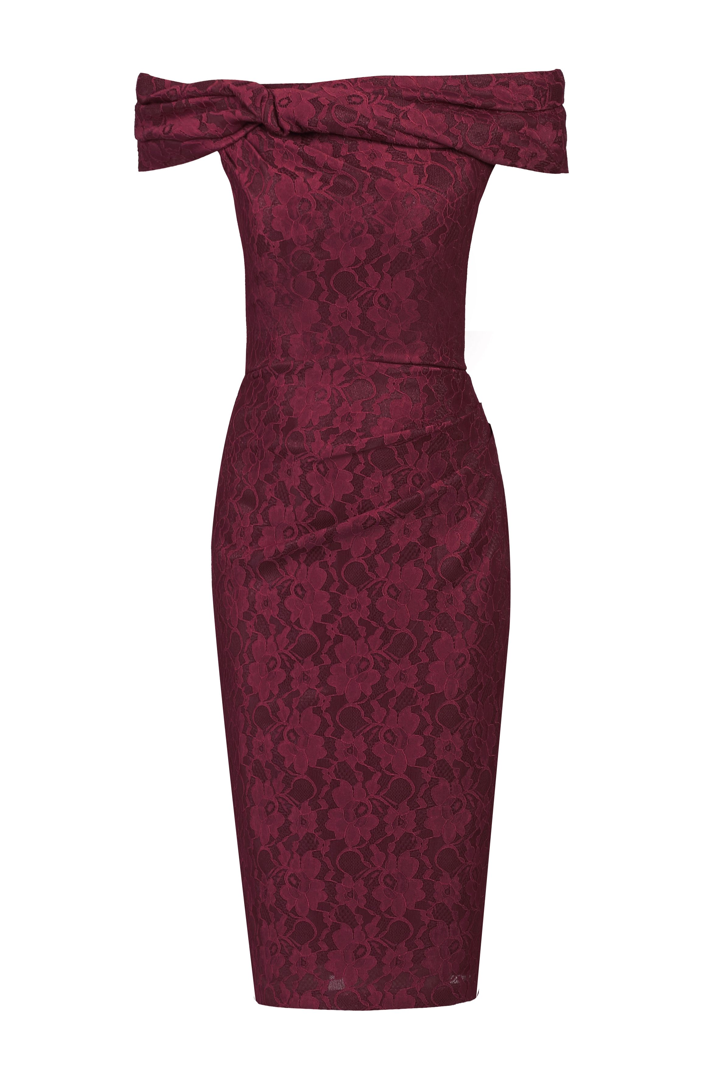 Jolie Moi Bardot Neck Ruched Lace Dress, Red