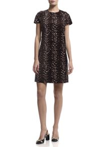 Havren Animal Print Velvet Dress