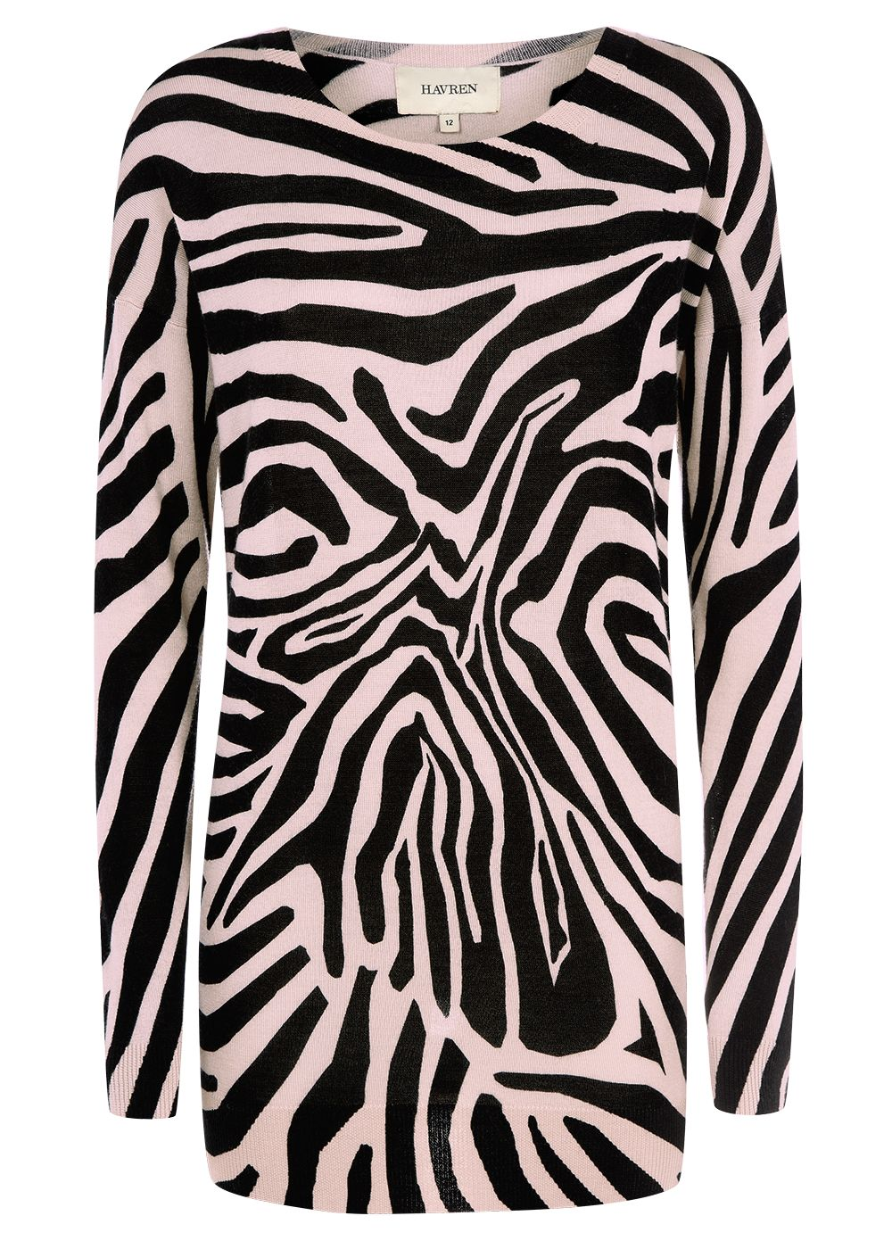 Havren Zebra Print Crew Jumper MultiColoured