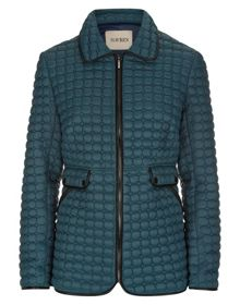 Quilted Jacket with Pleather Trim