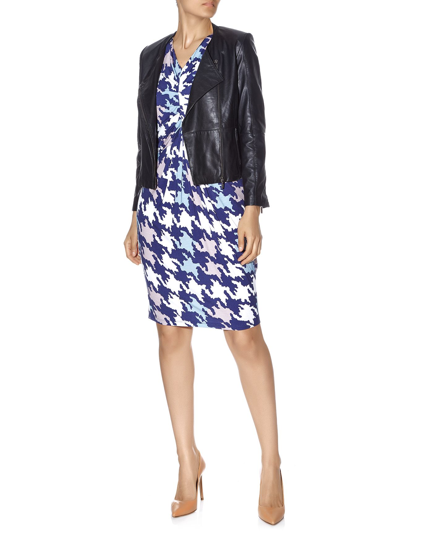 Houndstooth Print Jersey Dress