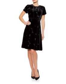 Devore Abstract Spot Printed Party Dress
