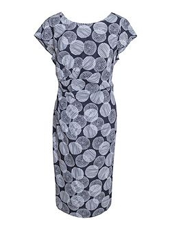 Printed Side Draped Silk Dress