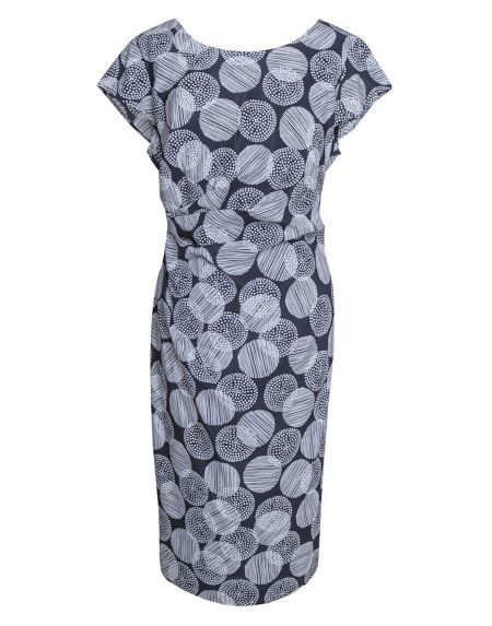 Havren Printed Side Draped Silk Dress
