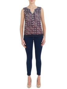 Havren Lattice Print Top