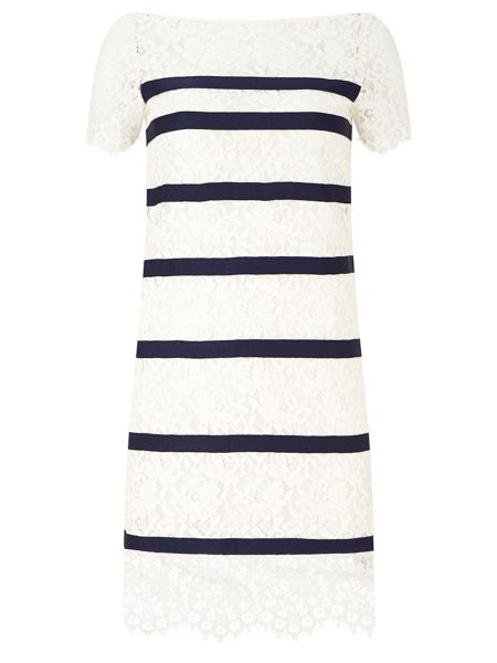 Havren Bethany Stripe Lace Dress