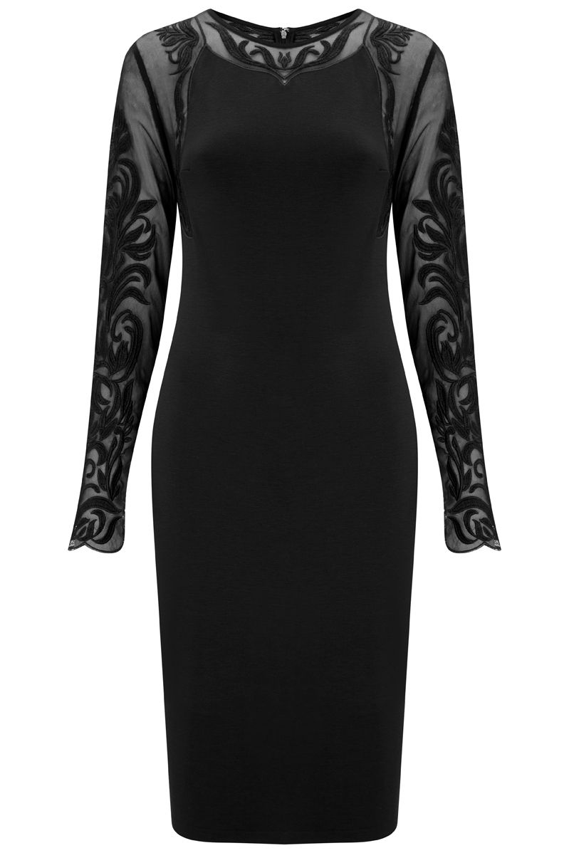 Havren Paige Lace Sleeve Dress, Black