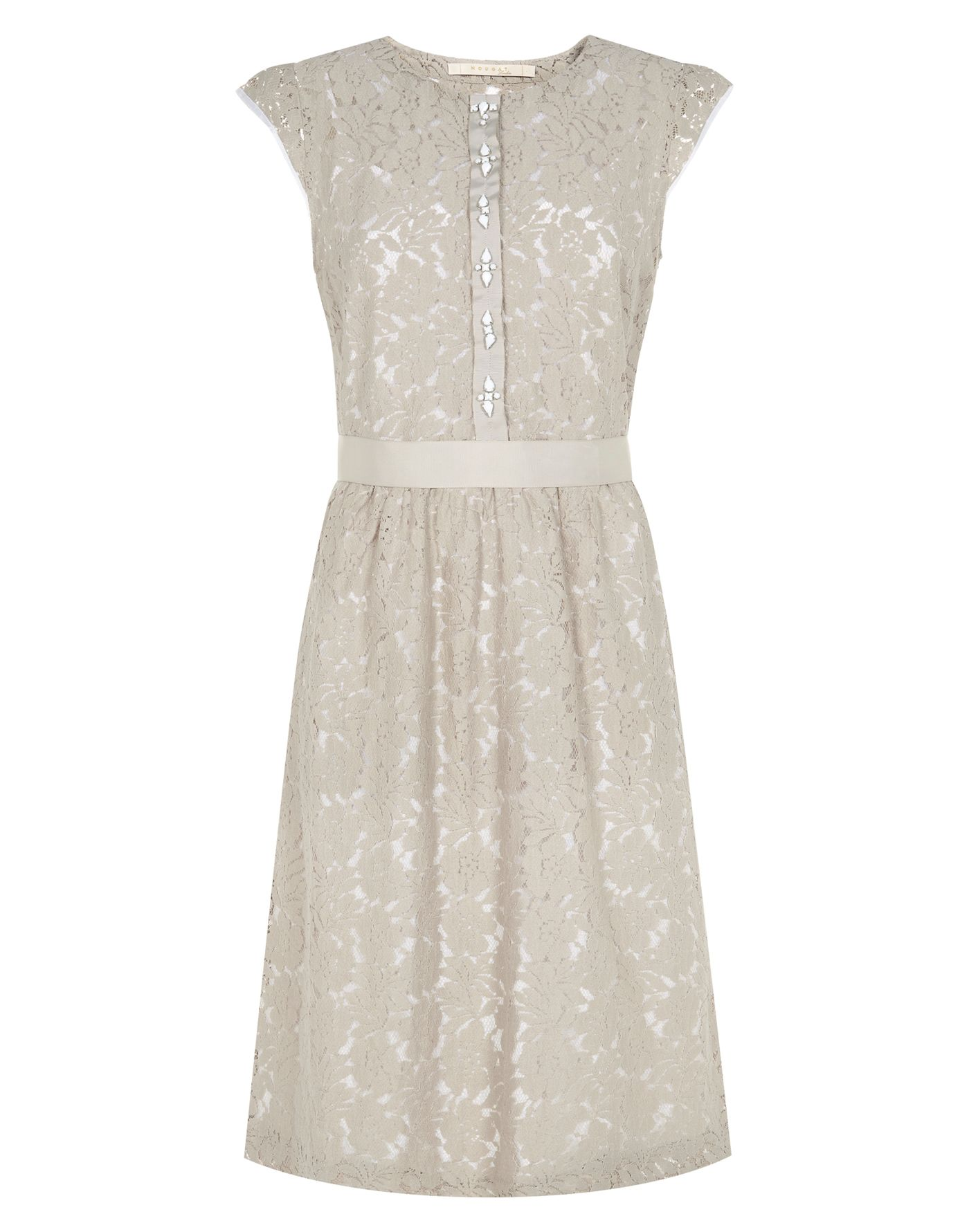 Grosgrain belted lace dress