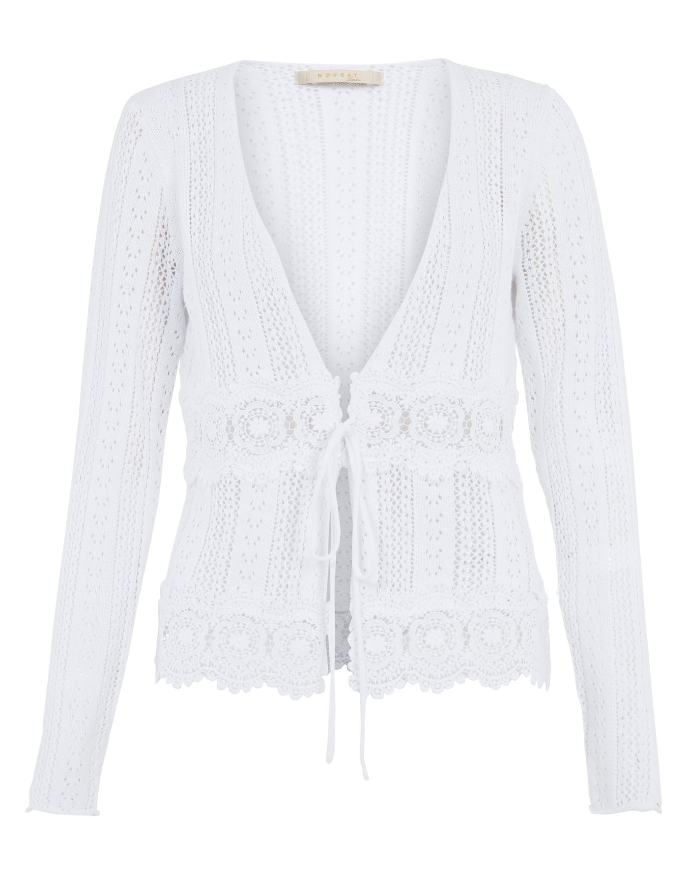 Lace trim pointelle cardigan