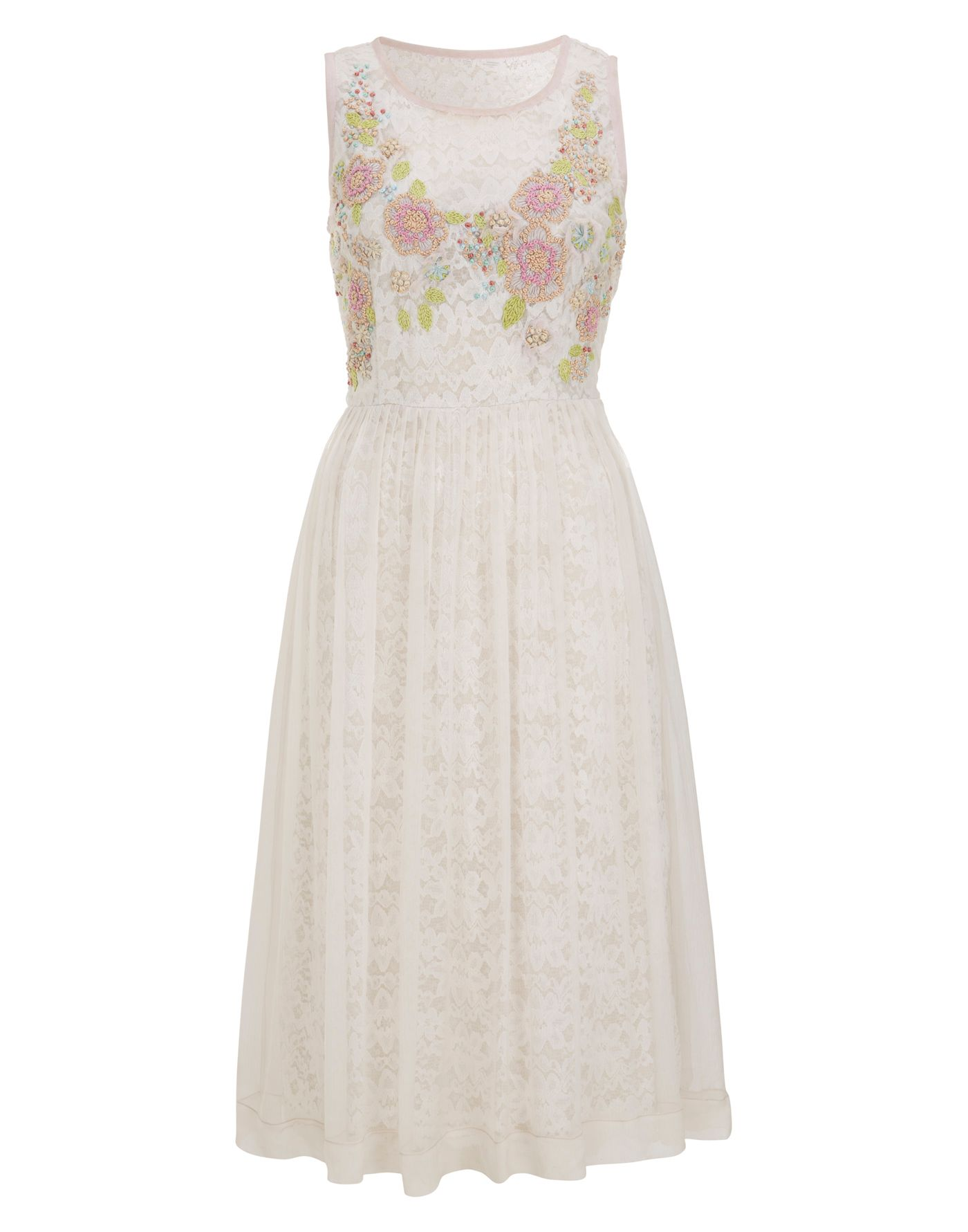 Lace lined embroidered dress