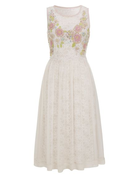 Nougat London Lace lined embroidered dress