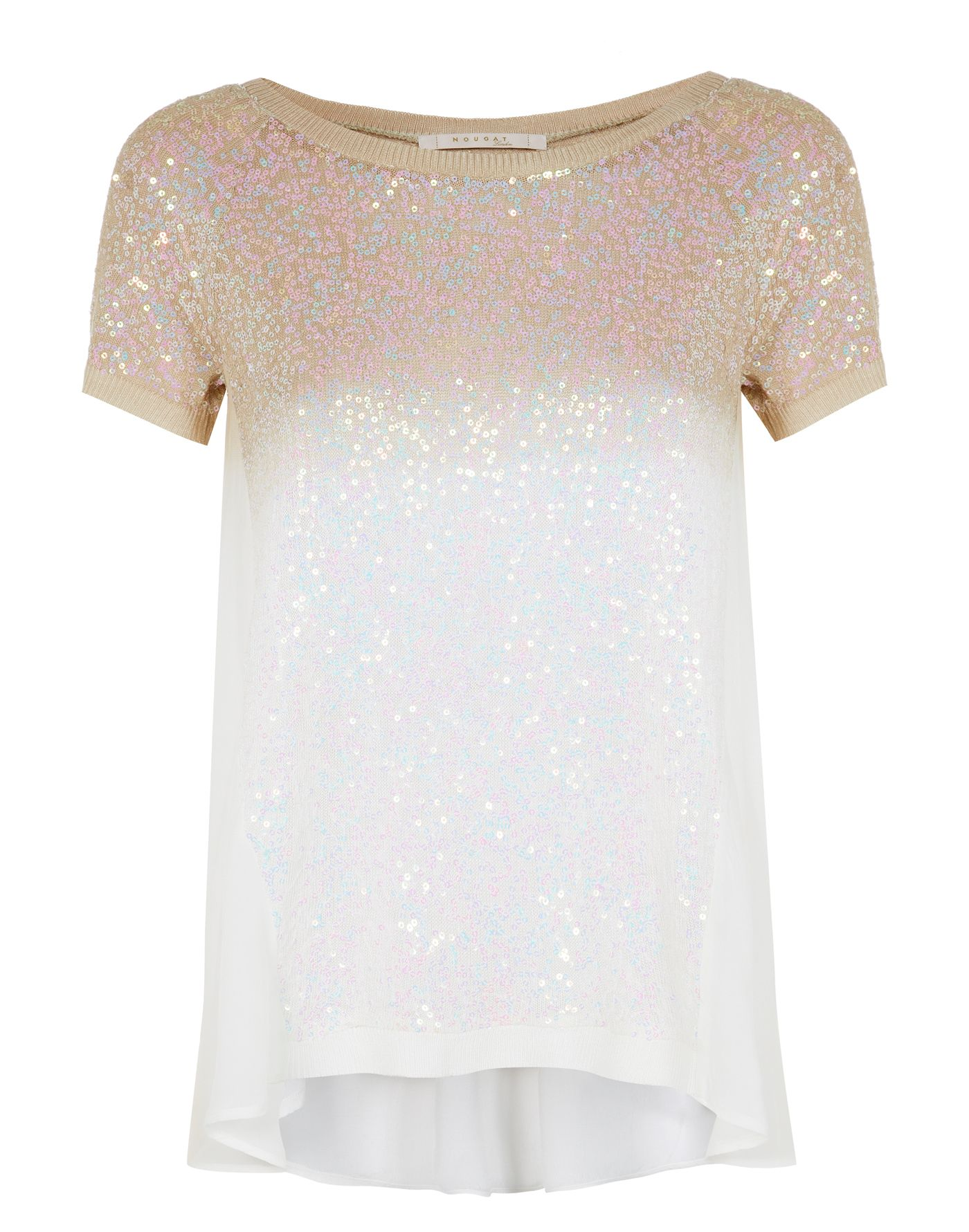 Sequin dip dye short sleeved jumper