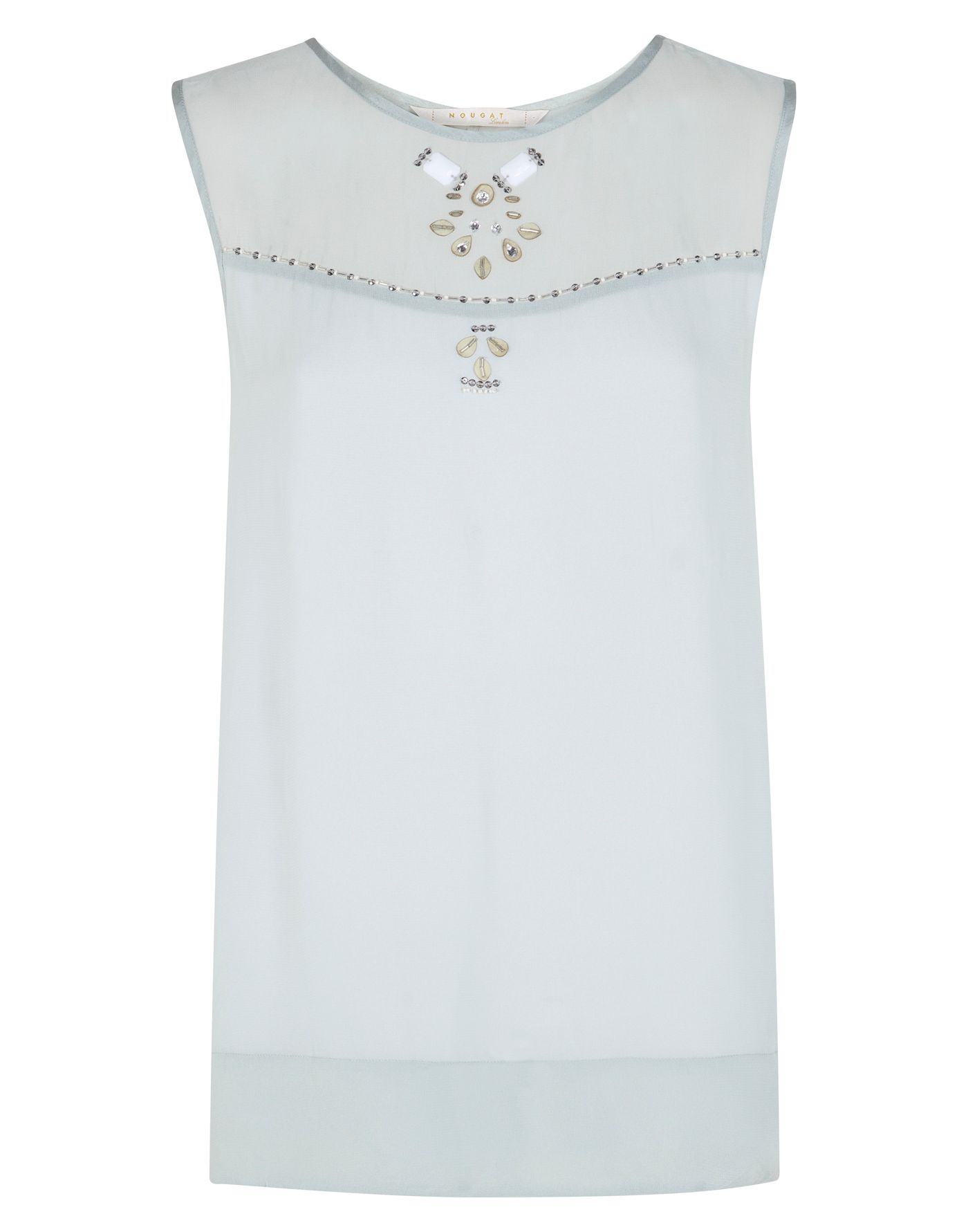 Embroidered front panel top