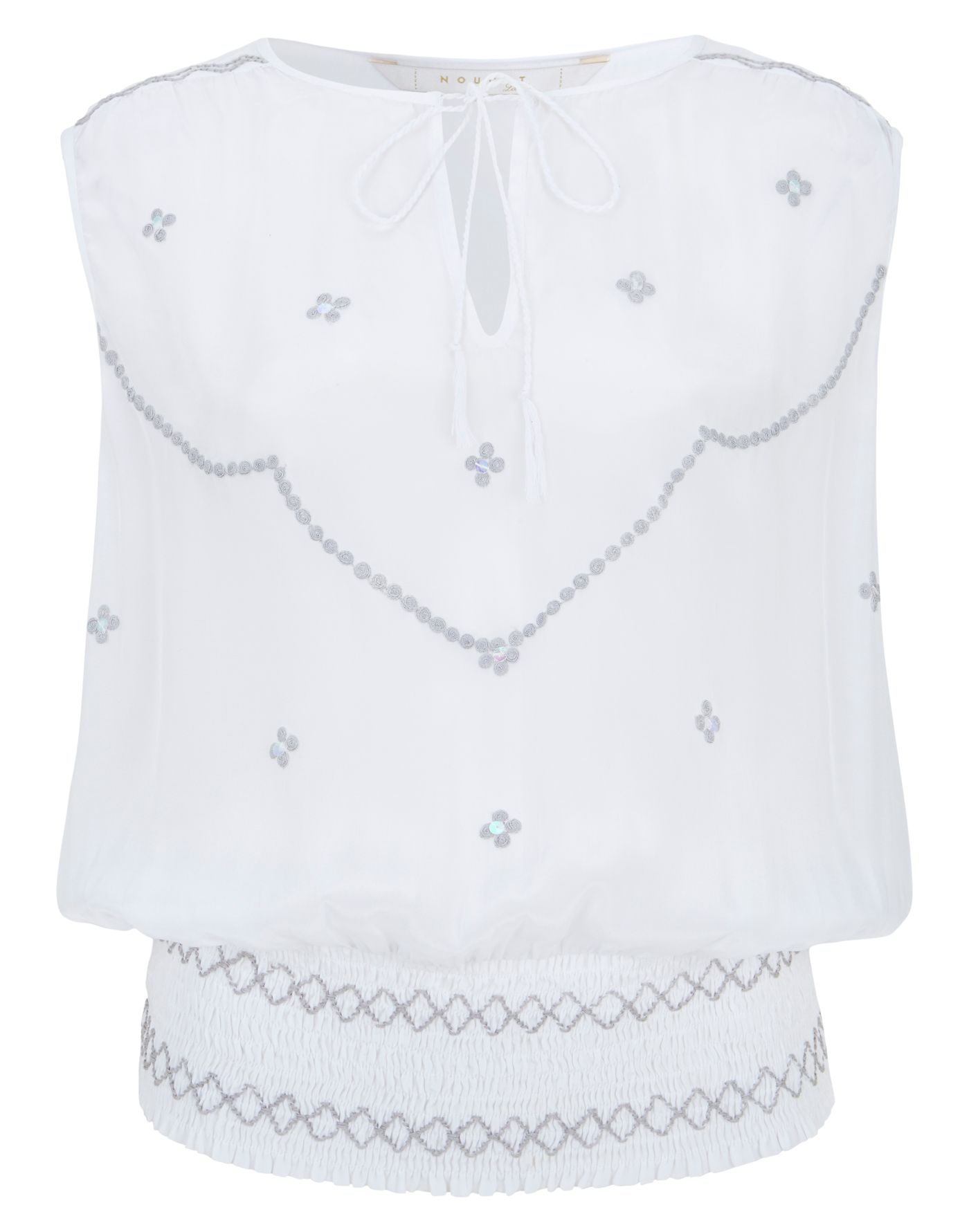 Smocked hem embroidery top