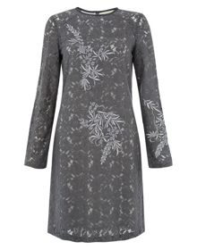 Nougat Lace Dress with Embroidery