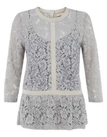 Nougat Lace Embroidery Top
