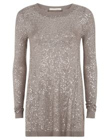 Nougat Long Sleeve Sequin Top