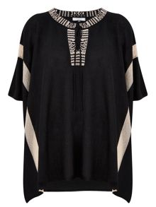 Nougat London Tie Detail Poncho Top