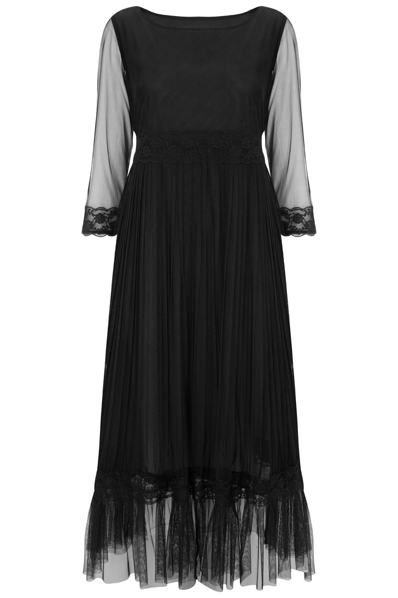 Nougat London Petunia Lace Frill Dress, Black