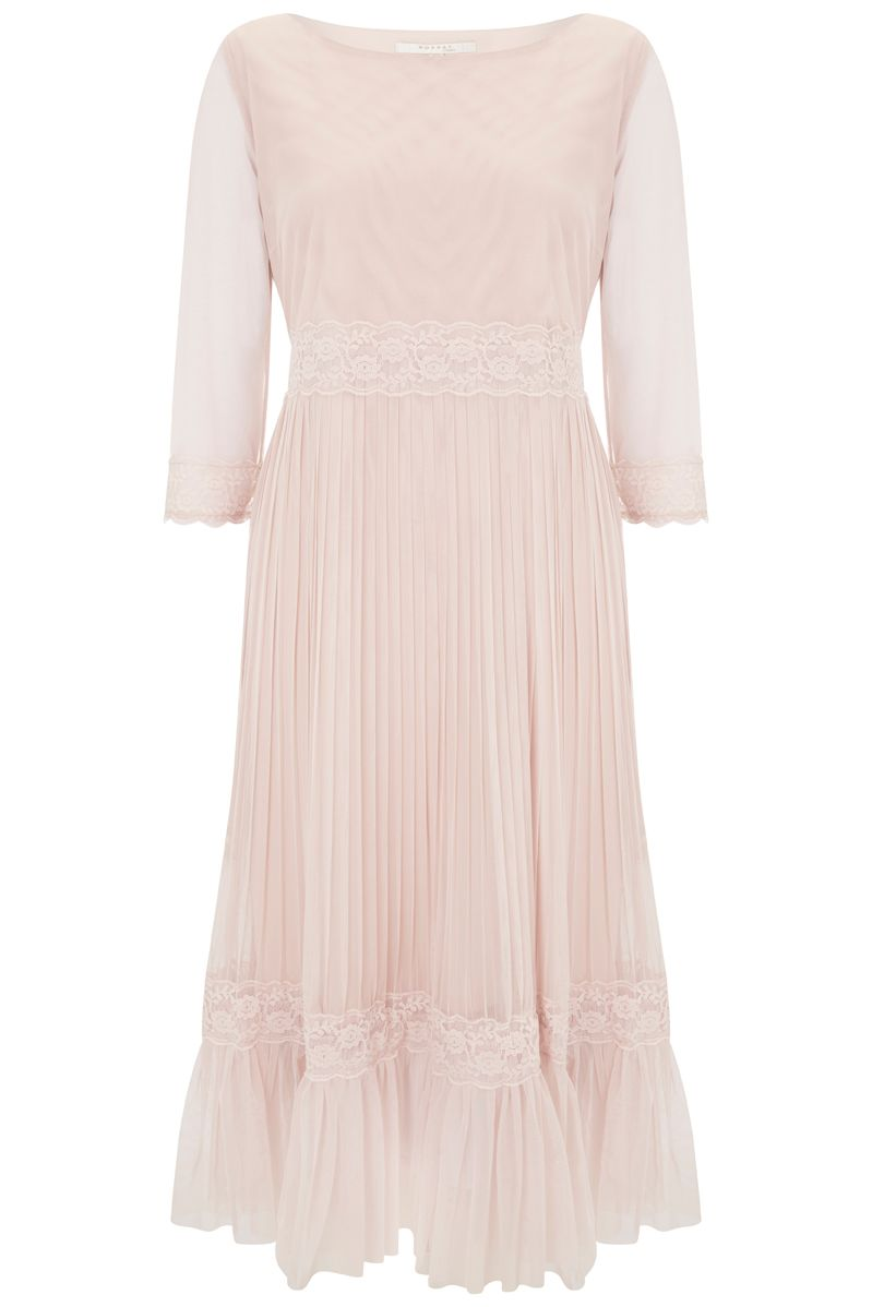 Nougat London Petunia Lace Frill Dress, Nude