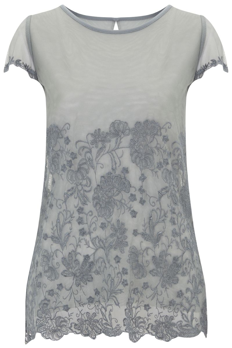 Nougat London Lily Embroidered T Shirt, Charcoal