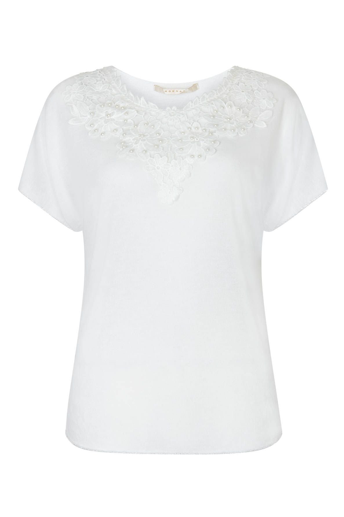 Nougat London Tulip Embroidered Top, White