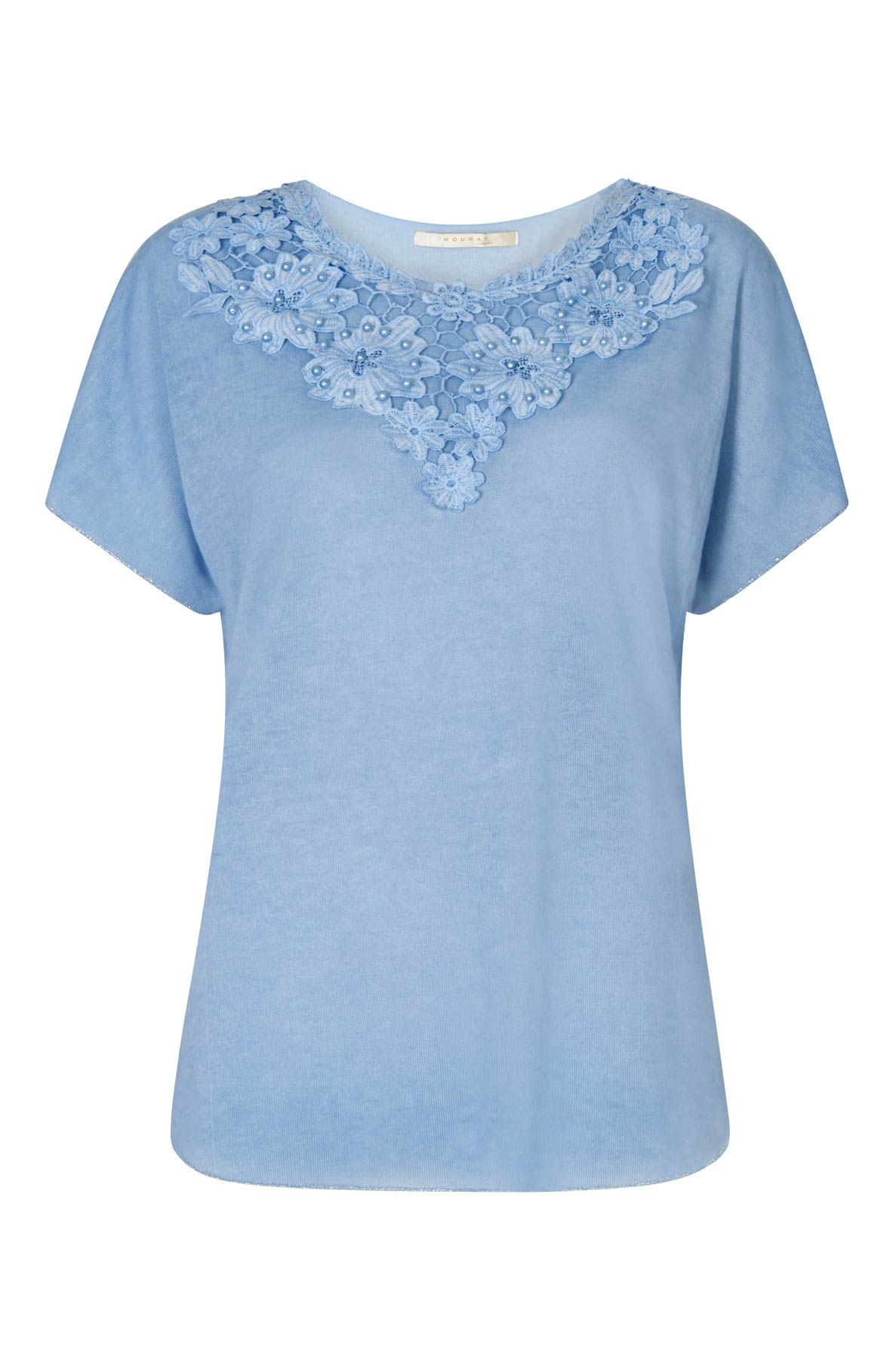 Nougat London Tulip Embroidered Top, Powder Blue
