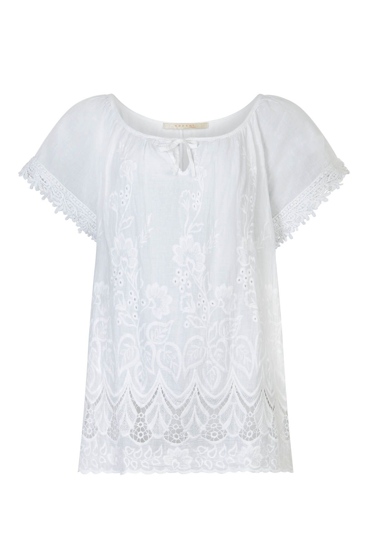 Nougat London Foxglove Embroidered Top, White