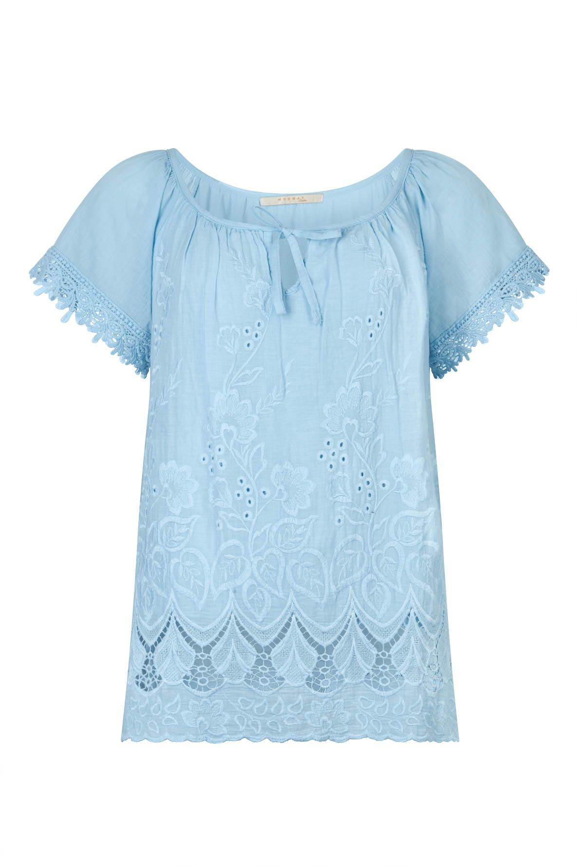 Nougat London Foxglove Embroidered Top, Blue