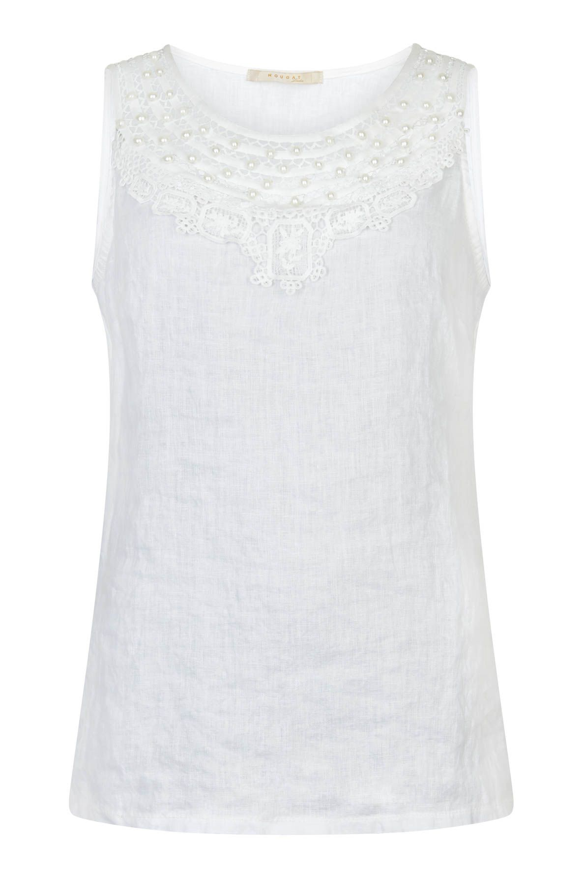 Nougat London Tiger Lily Crochet Vest, White