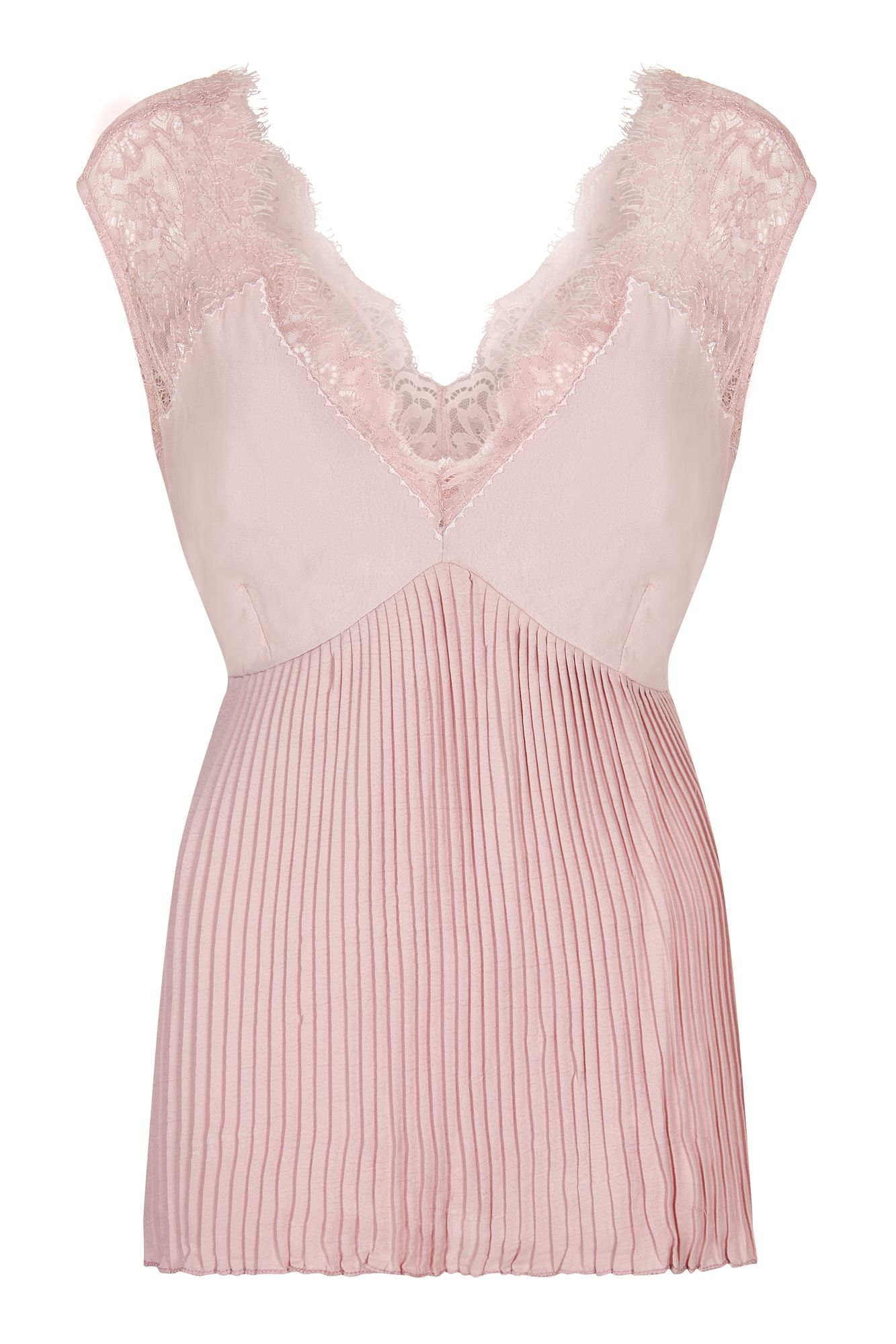 Nougat London Flora Pleated Lace Camisole, Pink