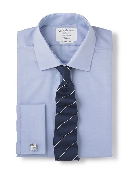 tm lewin non iron fitted shirt blue house of fraser