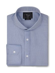Fully fitted blue chambray shirt