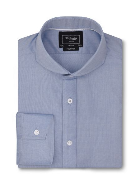 TM Lewin Fully fitted blue chambray shirt