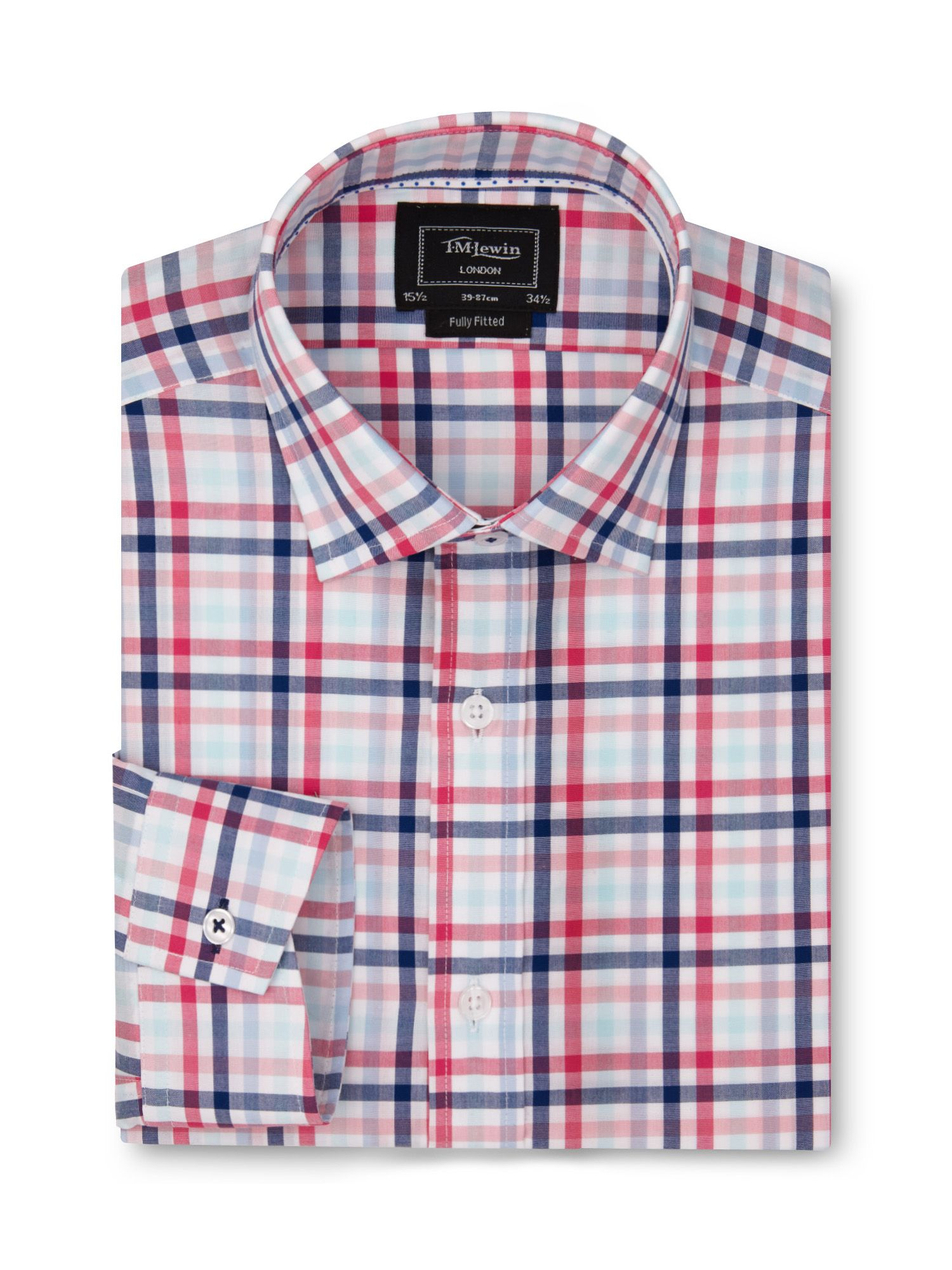 Fully fitted block check shirt