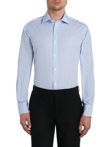 Stripe Slim Fit Long Sleeve Classic Collar Formal