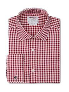 Large gingham check slim fit shirt