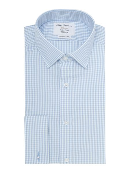 TM Lewin Gingham Fitted Long Sleeve Formal Shirt