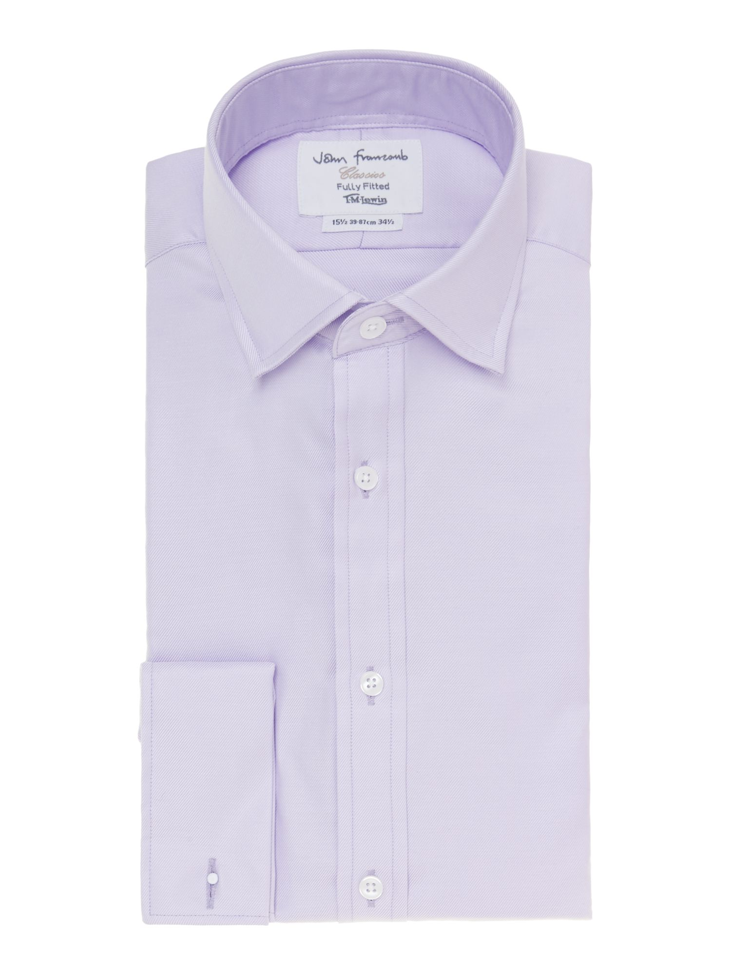 Mens TM Lewin Plain Fully Fitted Long Sleeve Formal Shirt Lilac
