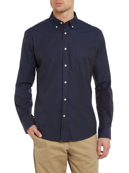 TM Lewin Plain Slim Fit Long Sleeve Button Down Shirt
