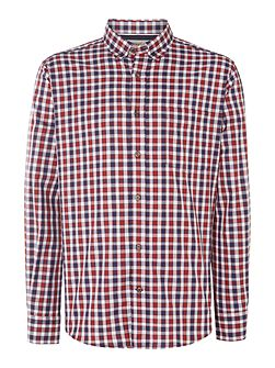 Shadow Check Slim Fit Long Sleeve Button Down