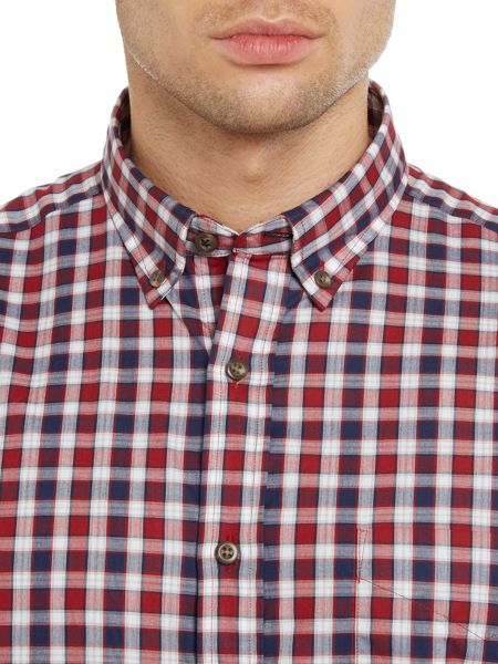 TM Lewin Shadow Check Slim Fit Long Sleeve Button Down Shi
