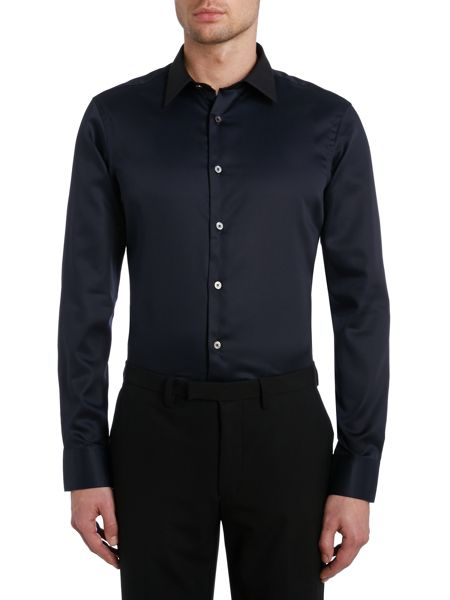 TM Lewin Plain Slim Fit Long Sleeve Classic Collar Shirt