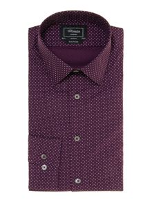 TM Lewin London Cross Print Fitted Formal Shirt