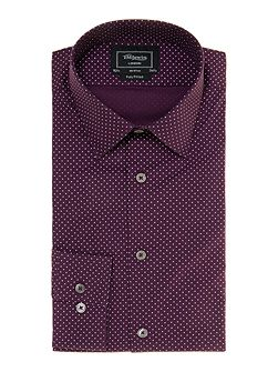 London Cross Print Fitted Formal Shirt