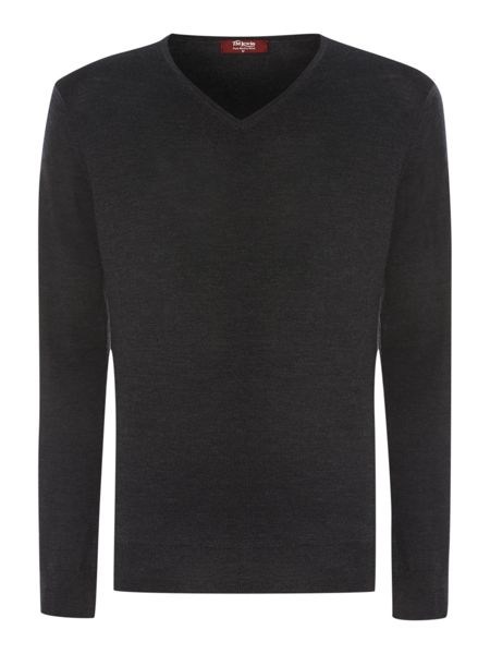 TM Lewin Plain Merino V Neck Pull Over Jumper