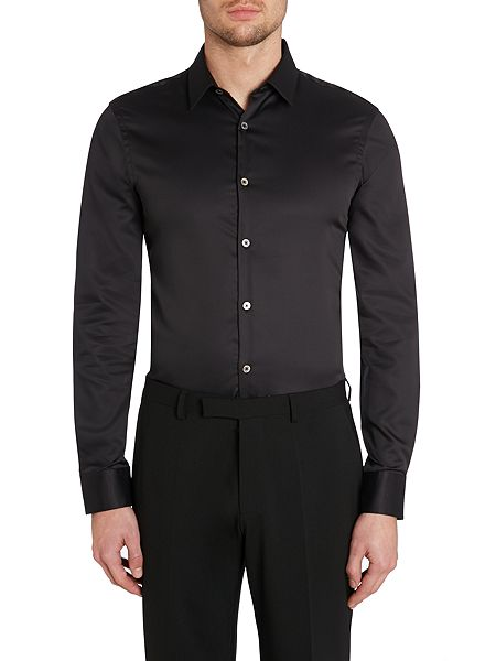 tm lewin sateen super fitted shirt black house of fraser